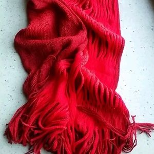 Red, textured acrylic knit scarf
